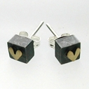 Small Chunky Square Studs With Hearts