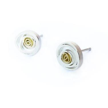 Large Spiral Studs, Silver and 18ct gold