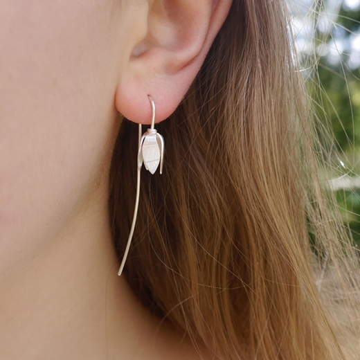 Snowdrop earring on model