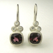 Rhodolite garnet, silver and diamond drop earrings