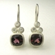 Rhodolite garnet, silver and diamond earrings