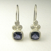 Silver drop earrings with Iolite and diamonds