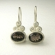 Smoky quartz, silver and diamond drop earrings