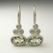 Green quartz, silver and diamond drop earrings