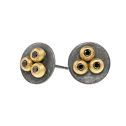 oxidised disc ear studs with 18ct yellow gold and black diamonds