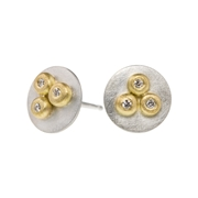 Silver disc ear studs with 18ct yellow gold and diamonds