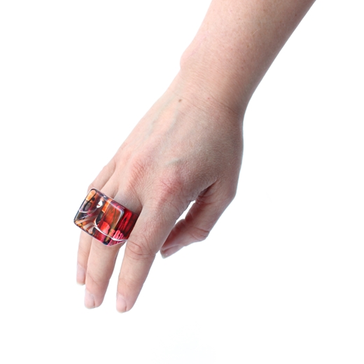 Red Square Ring worn
