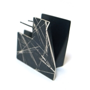 Large Square earrings in black ice