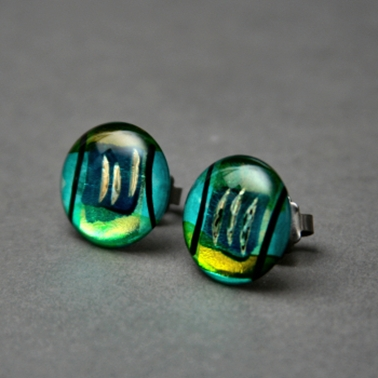 Button Stud Earrings in Green Turquoise