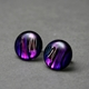 Button Stud Earrings in Purple