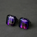 Cushion Stud Earrings in Purple