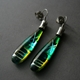 Long Slim Drop Earrings in Green Turquoise