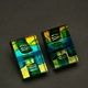 Oblong Block Earrings in Green Turquoise