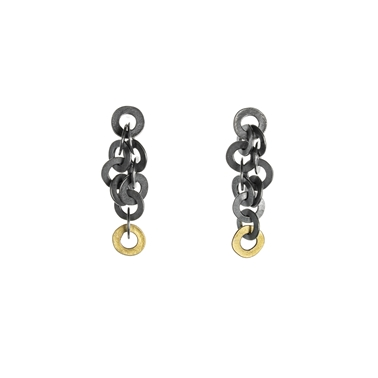 Ra earrings, oxidised silver with 18ct gold