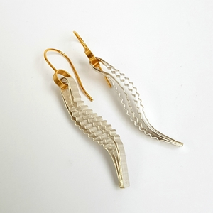 Strata Earring, silver with gold hook