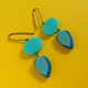 blue and turquoise double drop studs