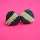 large black and gold petal studs