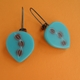 turquoise and brown large petal drop earrings