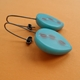 turquoise resin drop earrings side view