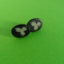 black and grey little oval earrings