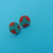 little red and turquoise studs