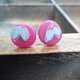 pink and grey little round studs