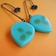 turquoise and olive medium petal drop earrings
