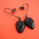 black petal drop earrings