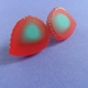 red and turquoise ridge texture studs