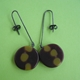 brown and olive round drop earrings