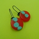 red and turquoise round drops