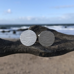eco silver ripple cufflinks