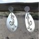 Eco SIlver Teardrop Wave Earrings