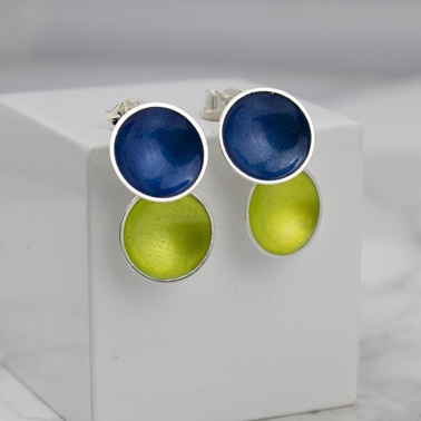 Silver and Enamel Double Drops