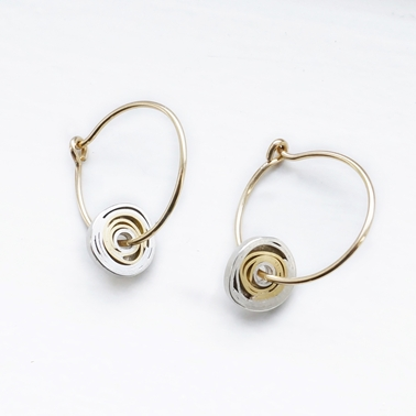 Silver, 18ct gold with gold filled hoop