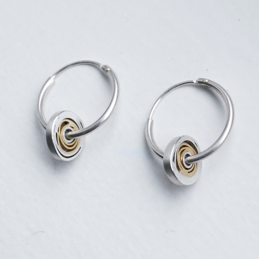 Silver, 18ct gold with silver hoop