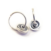 12.5mm Oxidised silver Spiral ear hoops