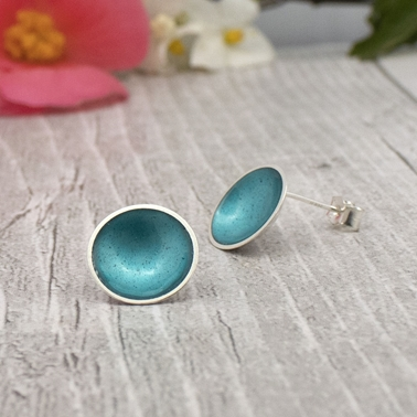 Silver and enamel studs - teal