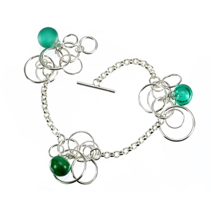 Emerald-green-lampworked-glass-bubble-sterling-silver-bracelet-by-Charlotte-Verity
