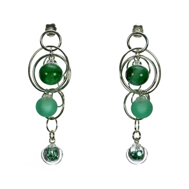 Emerald-green-lampworked-glass-triple-bubble-sterling-silver-earrings-by-Charlotte-Verity