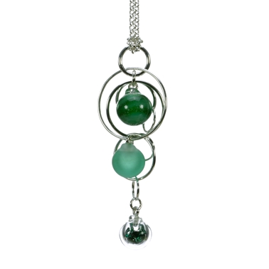 Emerald-green-lampworked-glass-triple-bubble-sterling-silver-pendant-by-Charlotte-Verity
