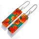 Orange & teal tiny Hydrangea flower stick earrings