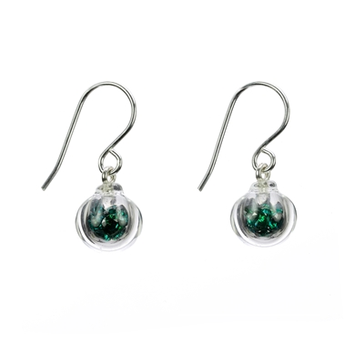 emerald CZ-lampworked-blown-glass-sterling-silver-hook-earrings-by-Charlotte-Verity