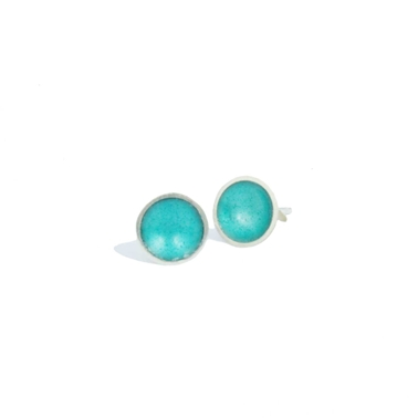 Teal Silver Stud Earrings