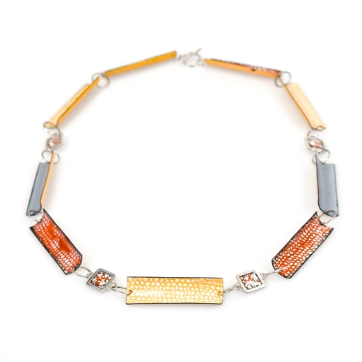 Enamel Necklace - Tangerine, Yellow and Grey