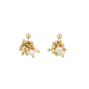 Gold Pearl Stud Earrings