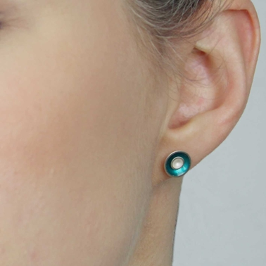 Small Target Stud Earrings - Teal