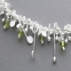 Blossom wire necklace with peridot, satin