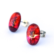Mini red oval studs