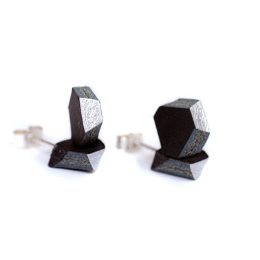 Facets Earrings - Black & Silver